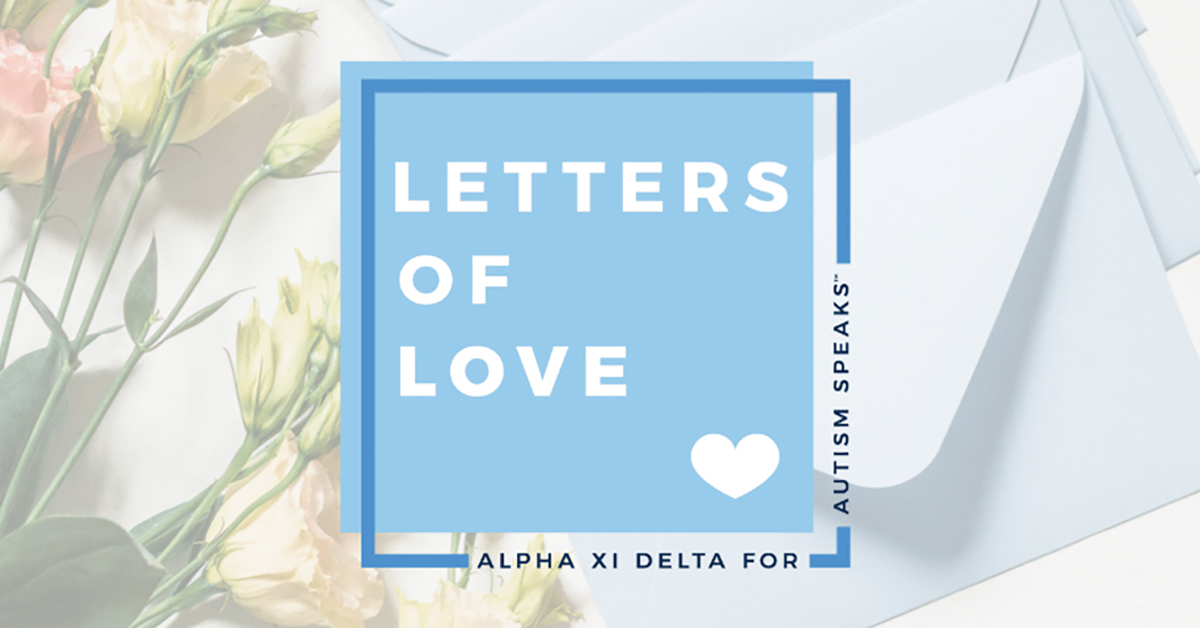 letters of love alpha xi delta fundraiser benefiting autism speaks